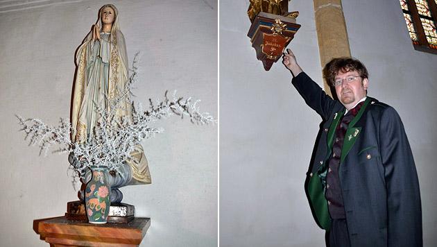 Der Marienstatue wurde die Krone gestohlen. Rechts: Dechant Maximilian Tödtling (Bild: Heinz Weeber)