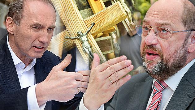 """Karas zu Schulz-Vorstoß: """"Hände weg vom Kreuz"""" (Bild: APA/HERBERT NEUBAUER, APA/EPA/HANNIBAL HANSCHKE, krone.at-Grafik)"""