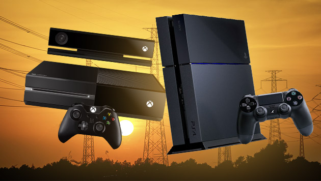 PS4 und Xbox One als Stromvergeuder in der Kritik (Bild: thinkstockphotos.de, Sony, Microsoft, krone.at-Grafik)