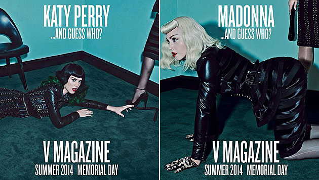 Madonna und Katy Perry im heißen SM-Look (Bild: V-Magazine)