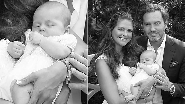 Prinzessin Madeleine und Chris O'Neill zeigen ihre Tochter Leonore. (Bild: kungahuset.se)