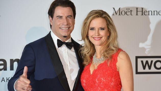 John Travolta und Gattin Kelly Preston kamen gemeinsam zur amfAR-Gala in Cannes. (Bild: AFP)