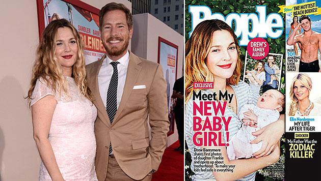 Drew Barrymore zeigt erstmals Töchterl Frankie (Bild: Dan Steinberg/Invision/AP, People)