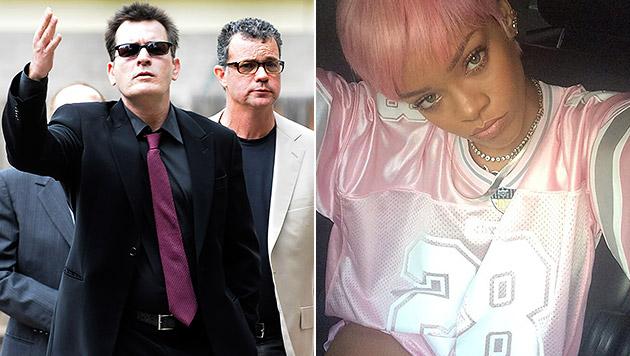 Charlie Sheen und Rihanna im Twitter-Clinch (Bild: twitter.com/Rihanna, RICK GIASE/EPA/picturedesk.com)