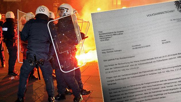 """Kritik der Volksanwaltschaft am Polizeieinsatz (Bild: APA/HERBERT P. OCZERET, """"Krone"""")"""