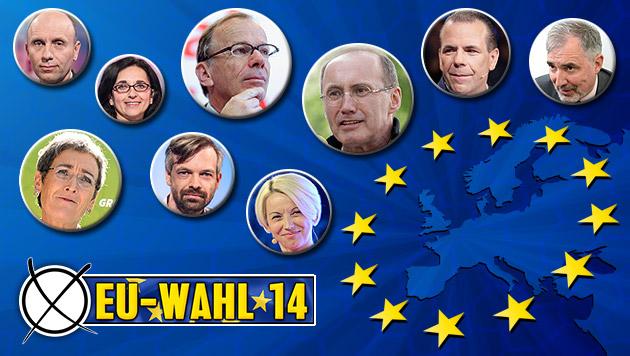 Wem soll ich bei der EU-Wahl meine Stimme geben? (Bild: thinkstockphotos.de, APA, krone.at-Grafik)