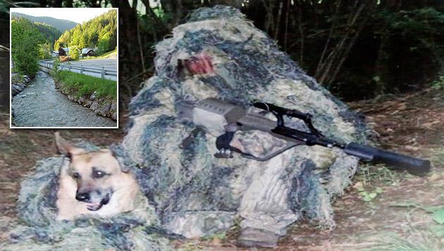 Auf einem sichergestellten Bild ist H. mit jenem Gewehr zu sehen, das im Lassingbach gefunden wurde. (Bild: Martin A. Jöchl, Franz Crepaz)
