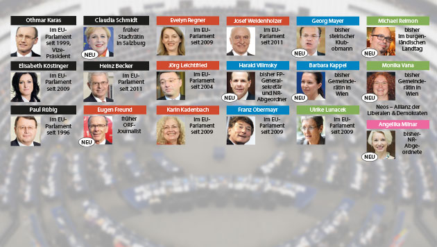 Das sind Österreichs neue EU-Abgeordnete (Bild: APA/EPA/PATRICK SEEGER, APA, krone.at-Grafik)