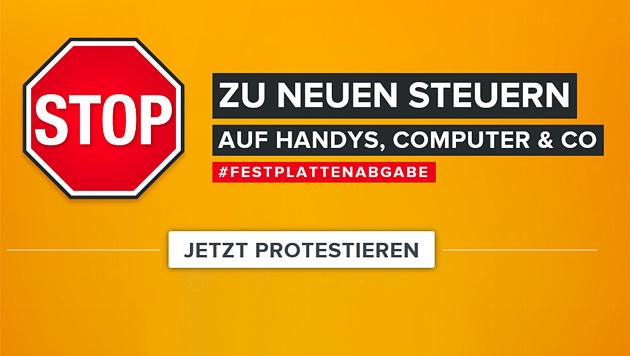 Festplattenabgabe: Start für SMS-Protestkampagne (Bild: gegenfestplattenabgabe.at)