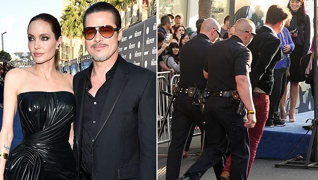 Nach der Attacke auf Brad Pitt wurde der Angreifer (Bild rechts) von der Polizei abgeführt. (Bild: John Shearer/Invision/AP, Matt Sayles/Invision/AP)