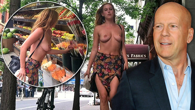 "Scout Willis spaziert für die ""Free the nipple""-Kampagne nackt durch New York. (Bild: twitter.com/Scout_Willis, EPA, krone.at-Grafik)"
