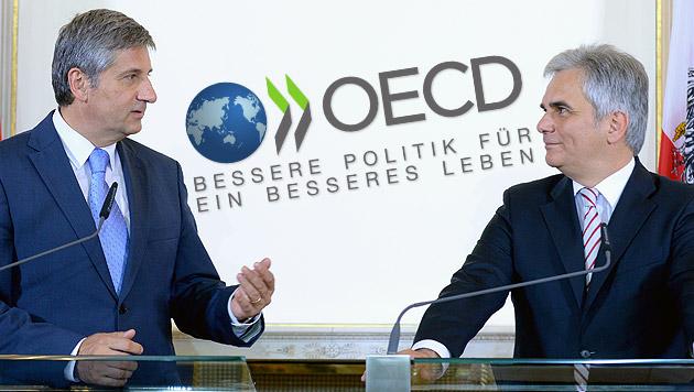 OECD-Bericht: Unsere Steuern sind viel zu hoch (Bild: APA/ROLAND SCHLAGER, oecd.org/berlin, krone.at-Grafik)