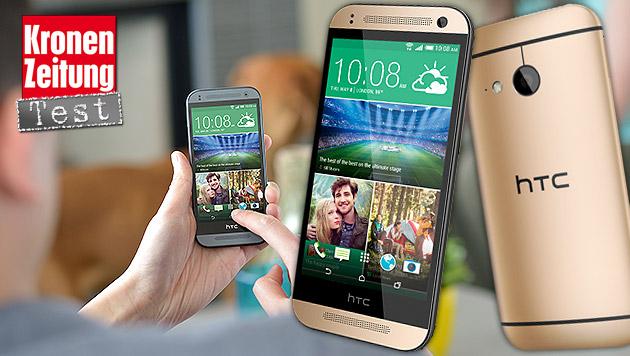 Schwächliche Schönheit: HTC One mini 2 im Test (Bild: HTC, krone.at-Grafik)