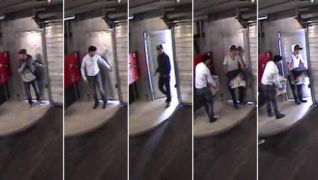 Das Trio wurde beim Abtransport der wertvollen Münzen von einer Überwachungskamera gefilmt. (Bild: Polizei)