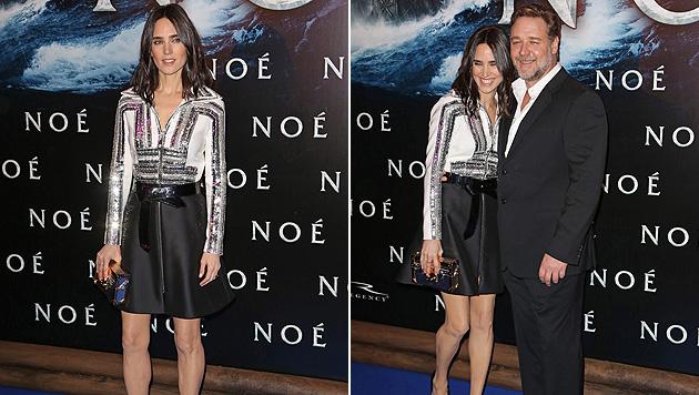 """Bei der Premiere für """"Noah"""" wirkt Jennifer Connelly fast zerbrechlich, besonders neben Russel Crowe. (Bild: APA/EPA/ETIENNE LAURENT)"""