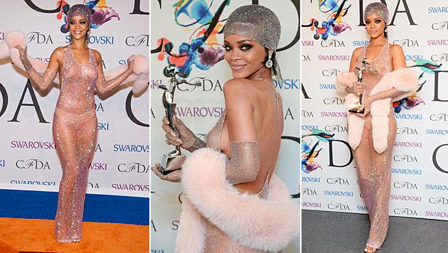 "Rihanna holte sich im sexy Outfit ihren Preis als ""Fashion Ikone"" ab. (Bild: Charles Sykes/Invision/AP)"