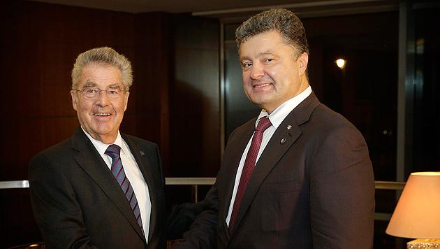 Fischer traf ukrainischen Amtskollegen Poroschenko (Bild: BUNDESHEER/PETER LECHNER)