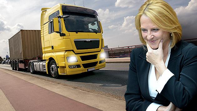 Bures erfreut: EU lehnt Gigaliner-Zulassung ab (Bild: APA/ROLAND SCHLAGER, thinkstockphotos.de, krone.at-Grafik)