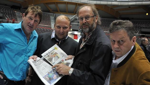 Die Erdkabel-Kämpfer Erwin Braunauer, Reinhard Fagerer, Matthias Höllweger und Isidor Ziller. (Bild: Wolfgang Weber)