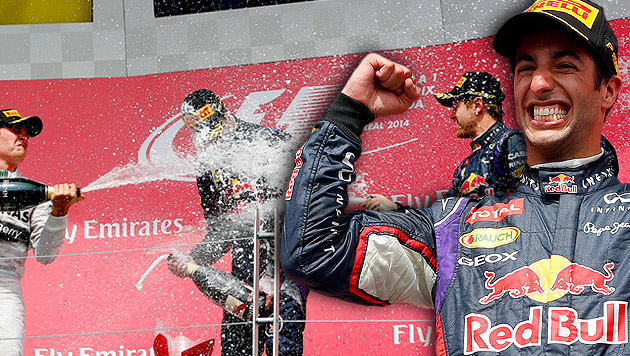 Premierensieg für Red Bulls Jungstar Ricciardo (Bild: AP, APA/EPA/VALDRIN XHEMAJ, krone.at-Grafik)