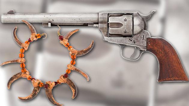 Revolver von Buffalo Bill in den USA unterm Hammer (Bild: ha.com, krone.at-Grafik)