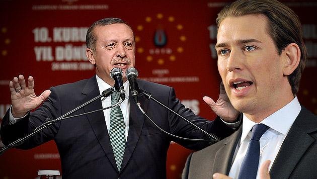 Kurz: Deutliche Warnung an Türken-Premier Erdogan (Bild: AP, APA/HANS PUNZ, krone.at-Grafik)