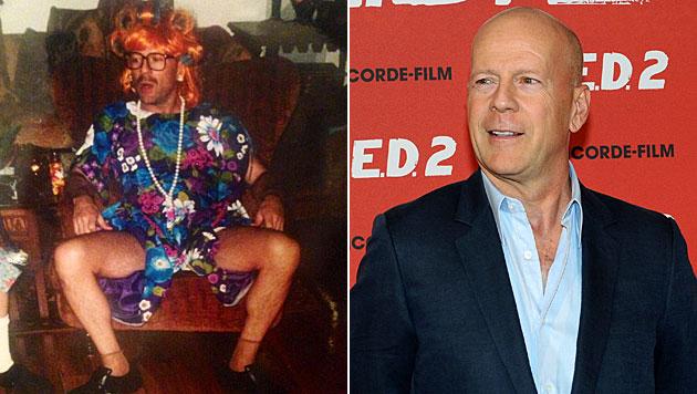 Schnappschuss zeigt Bruce Willis im Oma-Kleidchen (Bild: twitter.com/Scout_Willis, EPA)