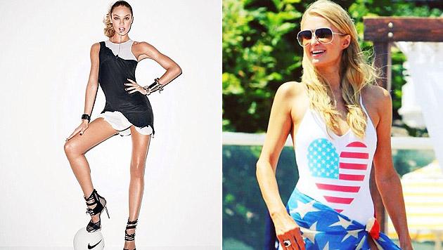 Candice Swanepoel drückt für Brasilien, Paris Hilton für die USA die Daumen. (Bild: instagram.com/angelcandices, instagram.com/parishilton)