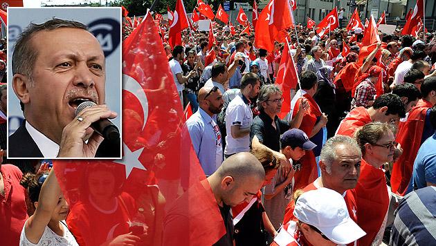 Propaganda-Show von Premier Erdogan in Wien (Bild: APA/HANS PUNZ, APA/EPA/SEDAT SUNA)