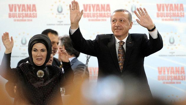 Premier Erdogan betritt die Bühne, wo ihm tosender Applaus seiner Anhänger entgegenschlägt. (Bild: APA/HANS PUNZ)