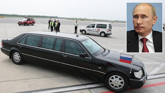 Putins drei Tonnen schwere, gepanzerte Mercedes-Limousine beim letzten Staatsbesuch in Wien (Bild: Gerhard Bartel, APA/EPA/Mikhail Klimentyev/Ria Novosti)