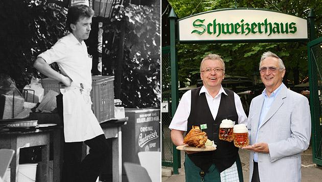 Einst und heute – heuer geht Drexler in die 40. Saison. Da gratulierte auch Chef Karl Kolarik (re.). (Bild: Christian Pichler)
