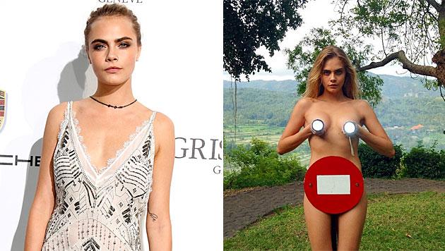 Model Cara Delevingne macht sexy Verkehrskontrolle (Bild: APA/EPA/SEBASTIEN NOGIER, instagram.com/caradelevingne)
