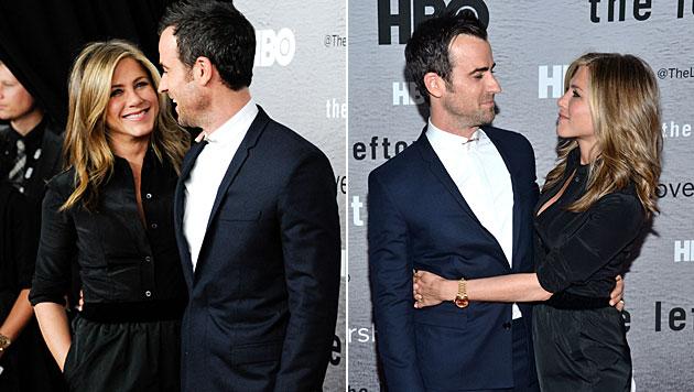 Aniston und Theroux turtelten am roten Teppich (Bild: Evan Agostini/Invision/AP)