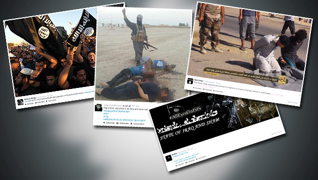 So professionalisiert der IS seine Propaganda (Bild: twitter.com, krone.at-Grafik)