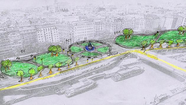 Gewinnerin Samantha Gajski verwandelt den Schwedenplatz in eine Parkoase mit Brunnen. (Bild: Samantha Gajski)