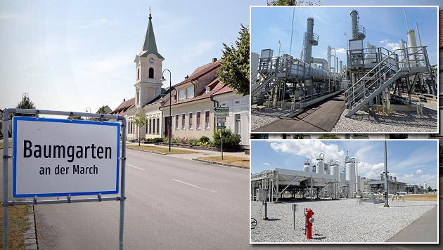 Baumgarten: Ein Dorf als Gaszentrale Europas (Bild: Klemens Groh, krone.at-Grafik)