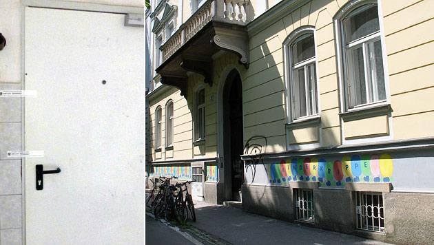 Hinter dieser Tür fand die Drogenparty mit tödlichem Ausgang statt. (Bild: APA/WOLFGANG WEHAB, Christian Jauschowetz)