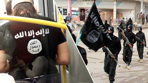 Mit Al-Kaida-Leiberl in Wiener U-Bahn unterwegs (Bild: Krone, AP)