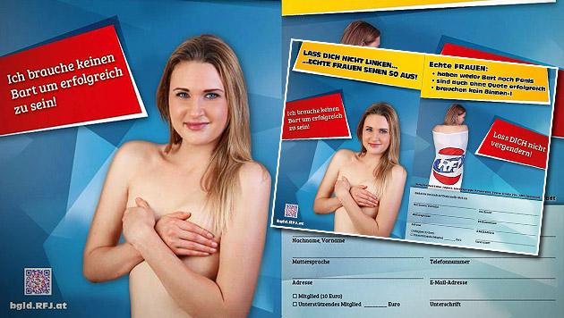 "RFJ: ""Echte Frauen haben weder Bart noch Penis"" (Bild: RFJ Burgenland)"