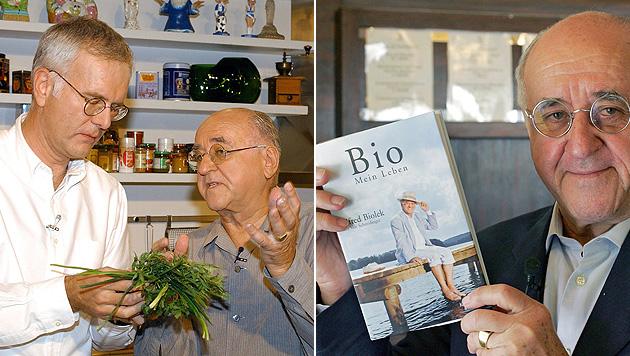 """Mit Harald Schmidt in der Koch-Show """"alfredissimo"""" und mit seiner Biografie. (Bild: dpa/Roland Scheidemann, dpa/Soeren Stache)"""