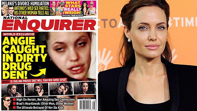 "Angelina Jolie ""ausgemergelt und im Drogenrausch"" (Bild: National Enquirer, APA/EPA/FACUNDO ARRIZABALAGA)"