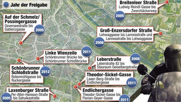 """Öffnung der Busspuren: Alle Parteien ziehen mit (Bild: """"Krone""""-Grafik)"""