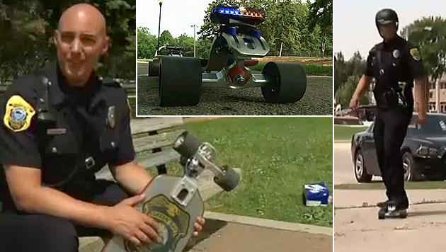 US-Polizist geht mit einem Skateboard auf Streife (Bild: Zoom.in)