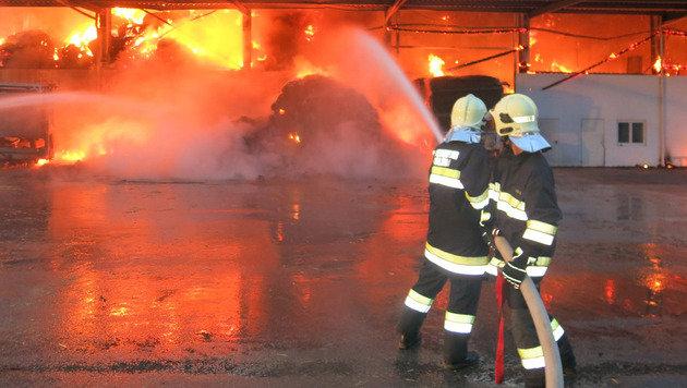 Strohlager brannte lichterloh - Ursache unklar (Bild: APA/STADTFEUERWEHR OBERWART/THOMAS OSWALD)