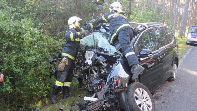 Der Wagen wurde bei der Kollision völlig demoliert. (Bild: APA/PRESSETEAM DER FEUERWEHR WIENER NEUSTADT)