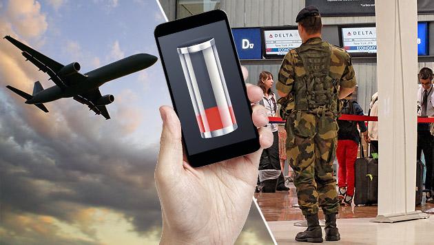 Nicht aufgeladene Handys bei USA-Flügen verboten (Bild: thinkstockphotos.de, AP, krone.at-Grafik)