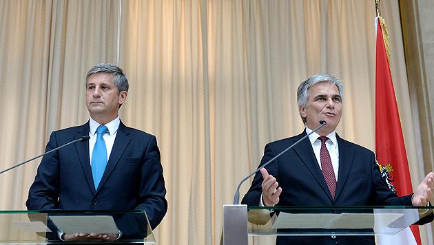 Budgetstreit: Kanzler und Vize sehen keine Krise (Bild: APA/ROLAND SCHLAGER)