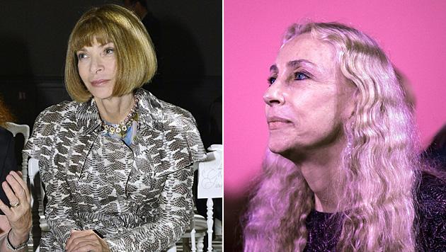 """Ohne sie geht in Sachen Mode gar nichts: die """"Vogue""""-Chefinnen Anna Wintour und Franca Sozzani. (Bild: AFP, APA/EPA/ETIENNE LAURENT)"""