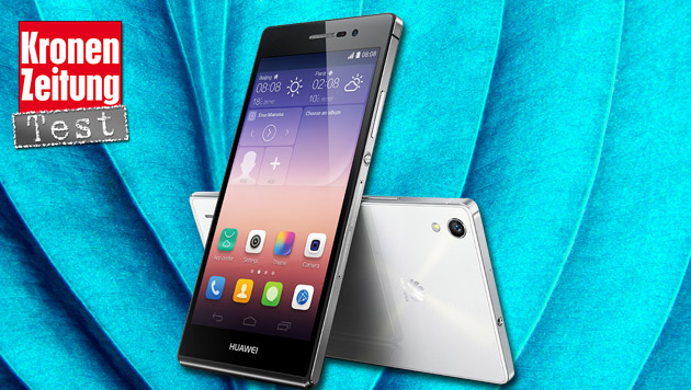 Huawei Ascend P7: Dünne Android-Flunder im Test (Bild: Huawei, thinkstockphotos.de, krone.at-Grafik)